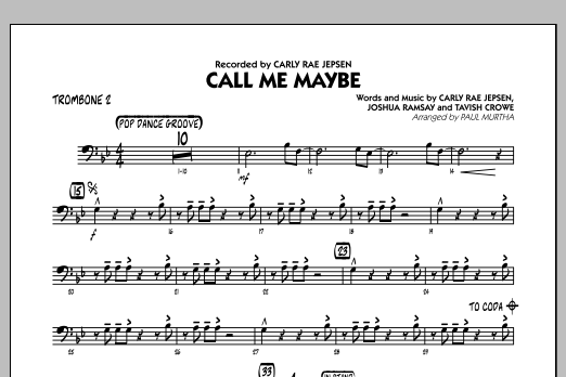 Paul Murtha Call Me Maybe - Trombone 2 sheet music notes and chords