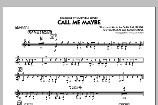 Paul Murtha Call Me Maybe - Trumpet 4 sheet music notes and chords