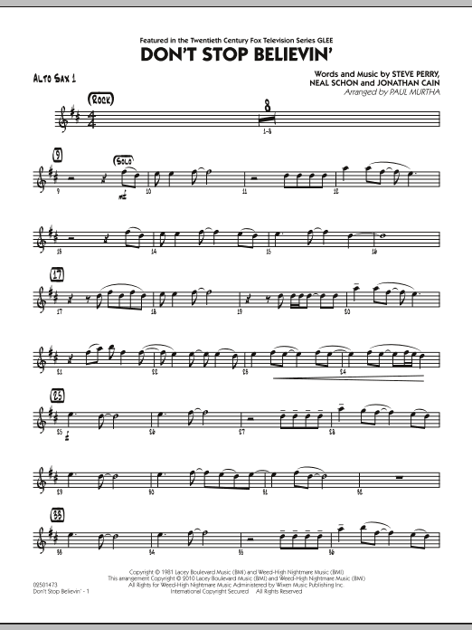 Paul Murtha Don't Stop Believin' - Alto Sax 1 sheet music preview music notes and score for Jazz Ensemble including 2 page(s)