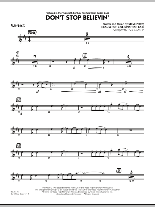 Paul Murtha Don't Stop Believin' - Alto Sax 2 sheet music preview music notes and score for Jazz Ensemble including 2 page(s)