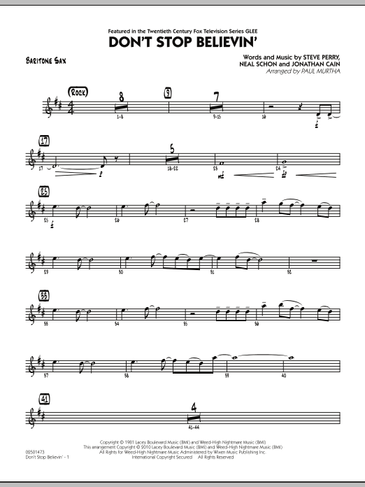 Paul Murtha Don't Stop Believin' - Baritone Sax sheet music preview music notes and score for Jazz Ensemble including 2 page(s)
