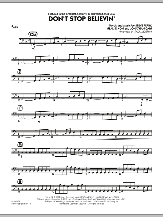Paul Murtha Don't Stop Believin' - Bass sheet music preview music notes and score for Jazz Ensemble including 2 page(s)