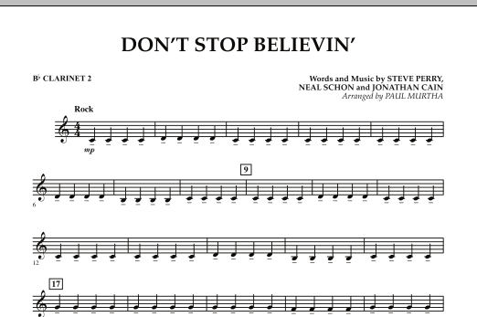 Paul Murtha Don't Stop Believin' - Bb Clarinet 2 sheet music preview music notes and score for Concert Band including 1 page(s)