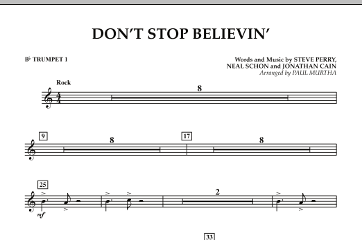 Paul Murtha Don't Stop Believin' - Bb Trumpet 1 sheet music preview music notes and score for Concert Band including 1 page(s)