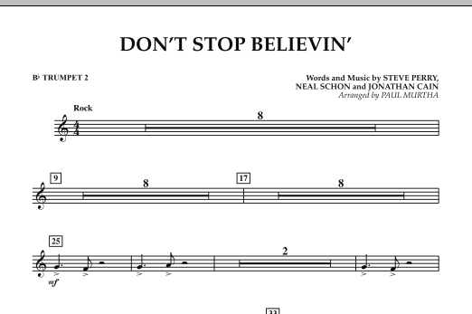 Paul Murtha Don't Stop Believin' - Bb Trumpet 2 sheet music preview music notes and score for Concert Band including 1 page(s)