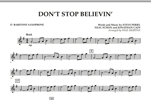 Paul Murtha Don't Stop Believin' - Eb Baritone Saxophone sheet music preview music notes and score for Concert Band including 1 page(s)
