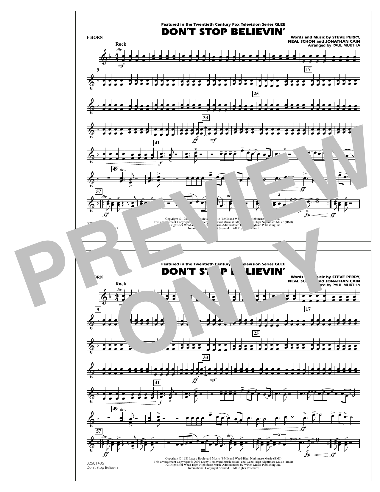 Paul Murtha Don't Stop Believin' - F Horn sheet music preview music notes and score for Concert Band including 1 page(s)