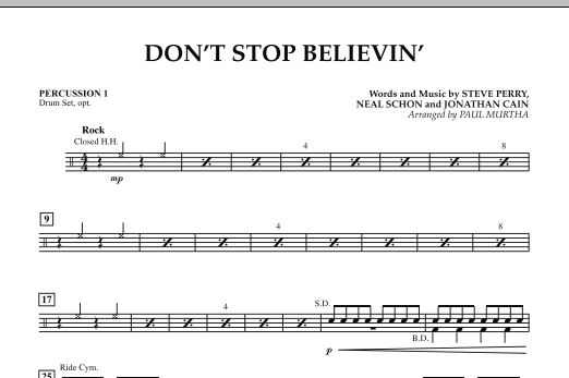 Paul Murtha Don't Stop Believin' - Percussion 1 sheet music preview music notes and score for Concert Band including 1 page(s)