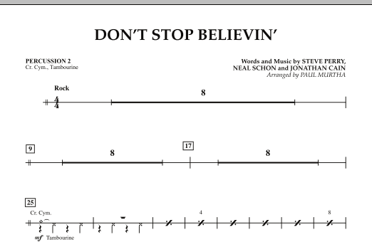Paul Murtha Don't Stop Believin' - Percussion 2 sheet music preview music notes and score for Concert Band including 1 page(s)