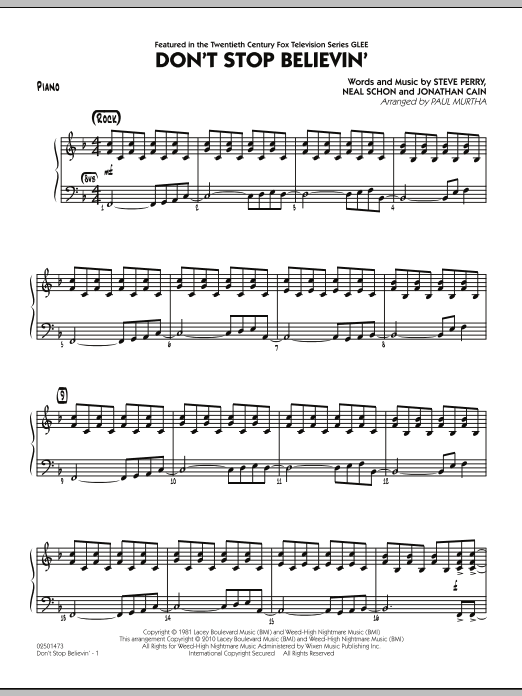 Paul Murtha Don't Stop Believin' - Piano sheet music preview music notes and score for Jazz Ensemble including 4 page(s)