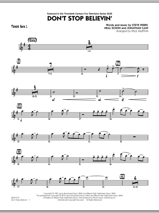 Paul Murtha Don't Stop Believin' - Tenor Sax 1 sheet music preview music notes and score for Jazz Ensemble including 2 page(s)