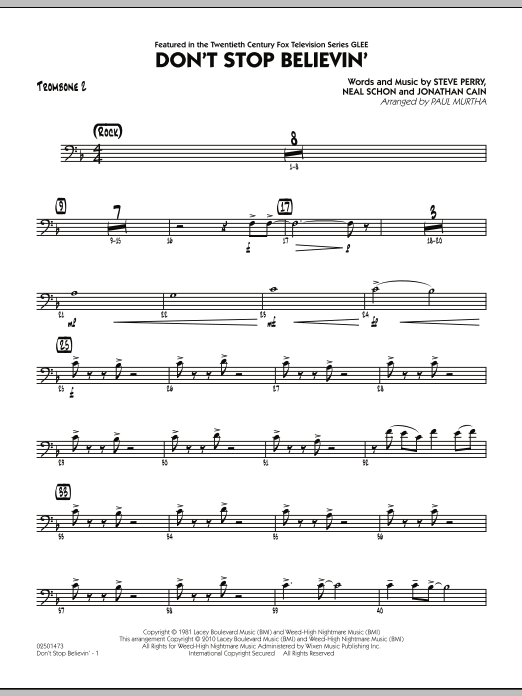 Paul Murtha Don't Stop Believin' - Trombone 2 sheet music preview music notes and score for Jazz Ensemble including 2 page(s)