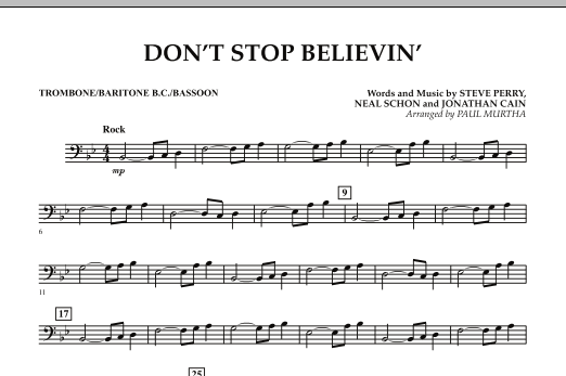 Paul Murtha Don't Stop Believin' - Trombone/Baritone B.C./Bassoon sheet music preview music notes and score for Concert Band including 1 page(s)