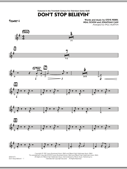 Paul Murtha Don't Stop Believin' - Trumpet 4 sheet music preview music notes and score for Jazz Ensemble including 2 page(s)