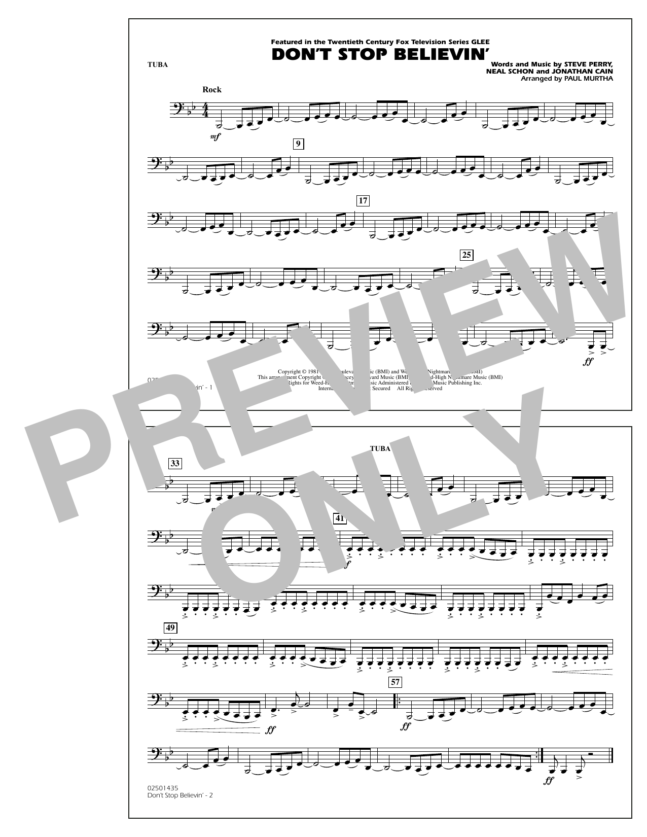 Paul Murtha Don't Stop Believin' - Tuba sheet music preview music notes and score for Concert Band including 1 page(s)