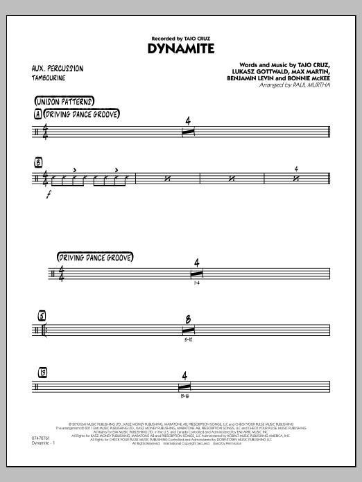 Paul Murtha Dynamite - Aux Percussion sheet music preview music notes and score for Jazz Ensemble including 2 page(s)