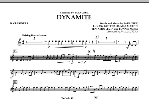 Paul Murtha Dynamite - Bb Clarinet 1 sheet music preview music notes and score for Jazz Ensemble including 2 page(s)