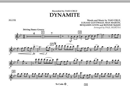 Paul Murtha Dynamite - Flute sheet music preview music notes and score for Jazz Ensemble including 2 page(s)