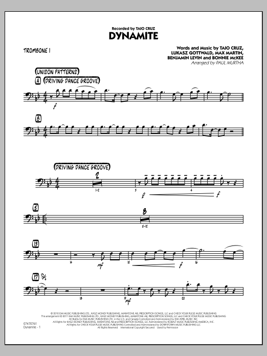 Paul Murtha Dynamite - Trombone 1 sheet music preview music notes and score for Jazz Ensemble including 2 page(s)