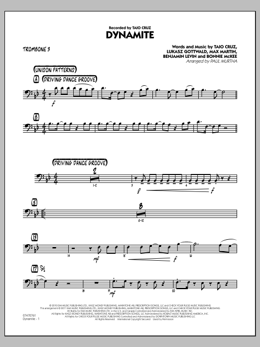Paul Murtha Dynamite - Trombone 3 sheet music preview music notes and score for Jazz Ensemble including 2 page(s)