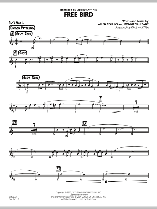 Paul Murtha Free Bird - Alto Sax 1 sheet music preview music notes and score for Jazz Ensemble including 2 page(s)