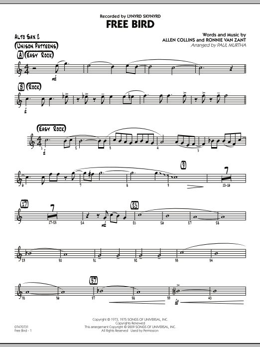 Paul Murtha Free Bird - Alto Sax 2 sheet music preview music notes and score for Jazz Ensemble including 2 page(s)