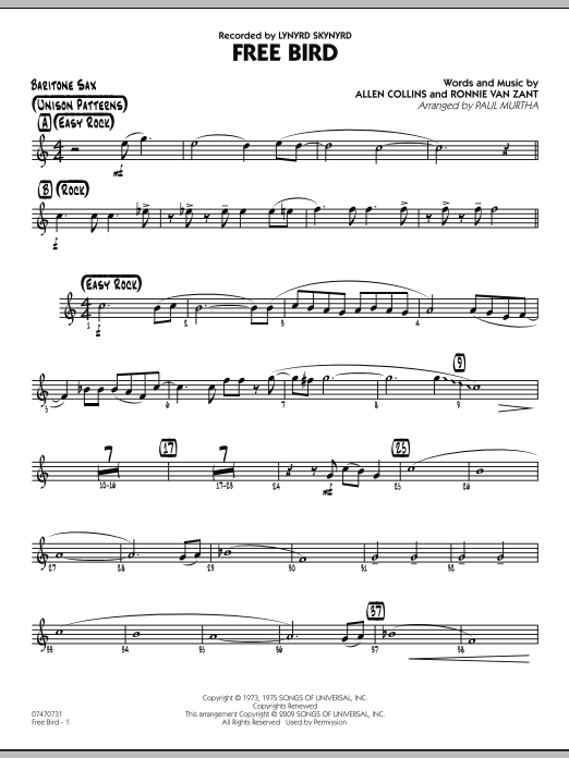 Paul Murtha Free Bird - Baritone Sax sheet music preview music notes and score for Jazz Ensemble including 2 page(s)