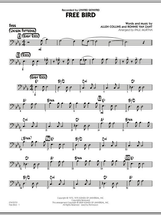Paul Murtha Free Bird - Bass sheet music preview music notes and score for Jazz Ensemble including 2 page(s)