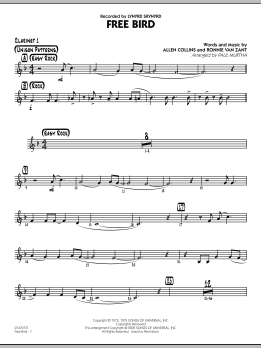 Paul Murtha Free Bird - Bb Clarinet 1 sheet music preview music notes and score for Jazz Ensemble including 2 page(s)