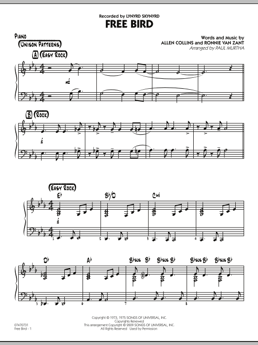 Paul Murtha Free Bird - Piano sheet music preview music notes and score for Jazz Ensemble including 2 page(s)