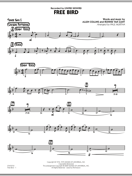 Paul Murtha Free Bird - Tenor Sax 2 sheet music preview music notes and score for Jazz Ensemble including 2 page(s)