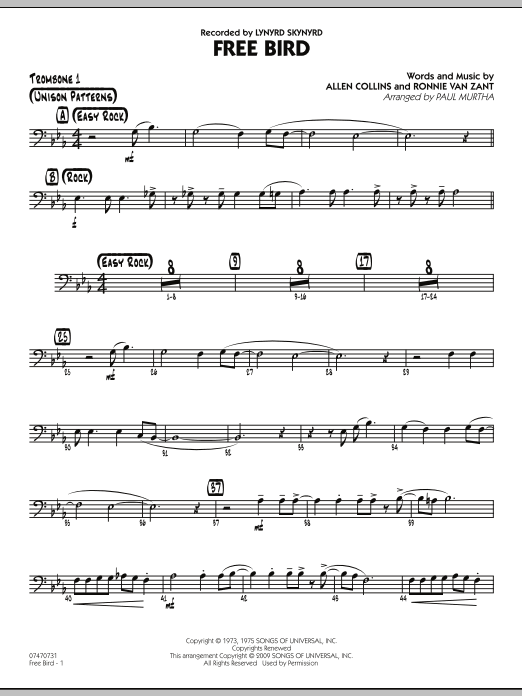 Paul Murtha Free Bird - Trombone 1 sheet music preview music notes and score for Jazz Ensemble including 2 page(s)