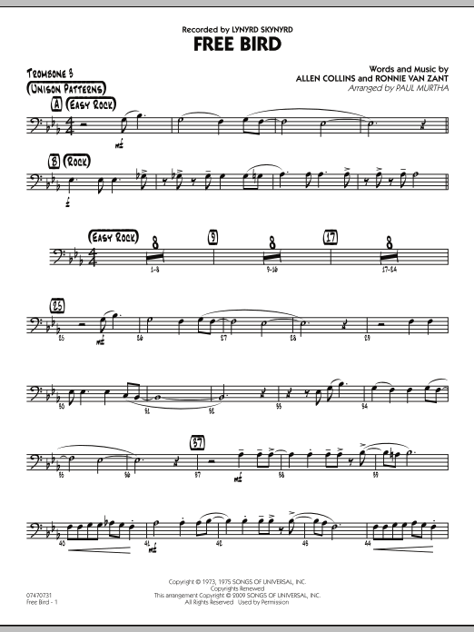 Paul Murtha Free Bird - Trombone 3 sheet music preview music notes and score for Jazz Ensemble including 2 page(s)