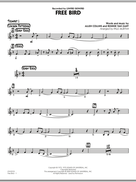 Paul Murtha Free Bird - Trumpet 1 sheet music preview music notes and score for Jazz Ensemble including 2 page(s)