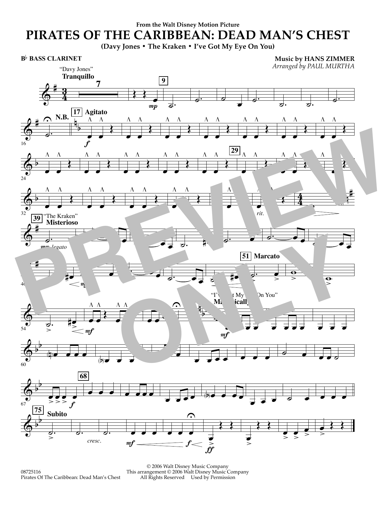 Paul Murtha Pirates of the Caribbean: Dead Man's Chest - Bb Bass Clarinet sheet music preview music notes and score for Concert Band including 1 page(s)