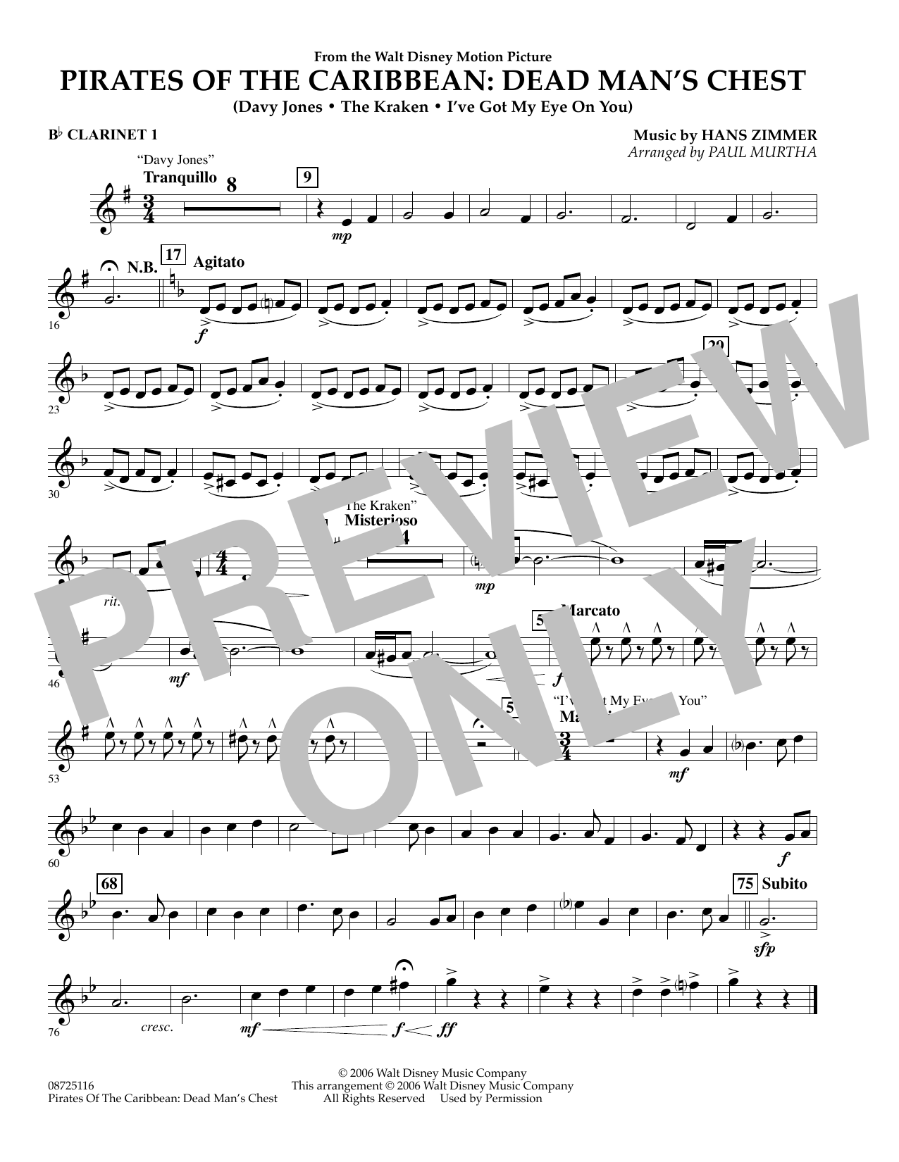 Paul Murtha Pirates of the Caribbean: Dead Man's Chest - Bb Clarinet 1 sheet music preview music notes and score for Concert Band including 1 page(s)