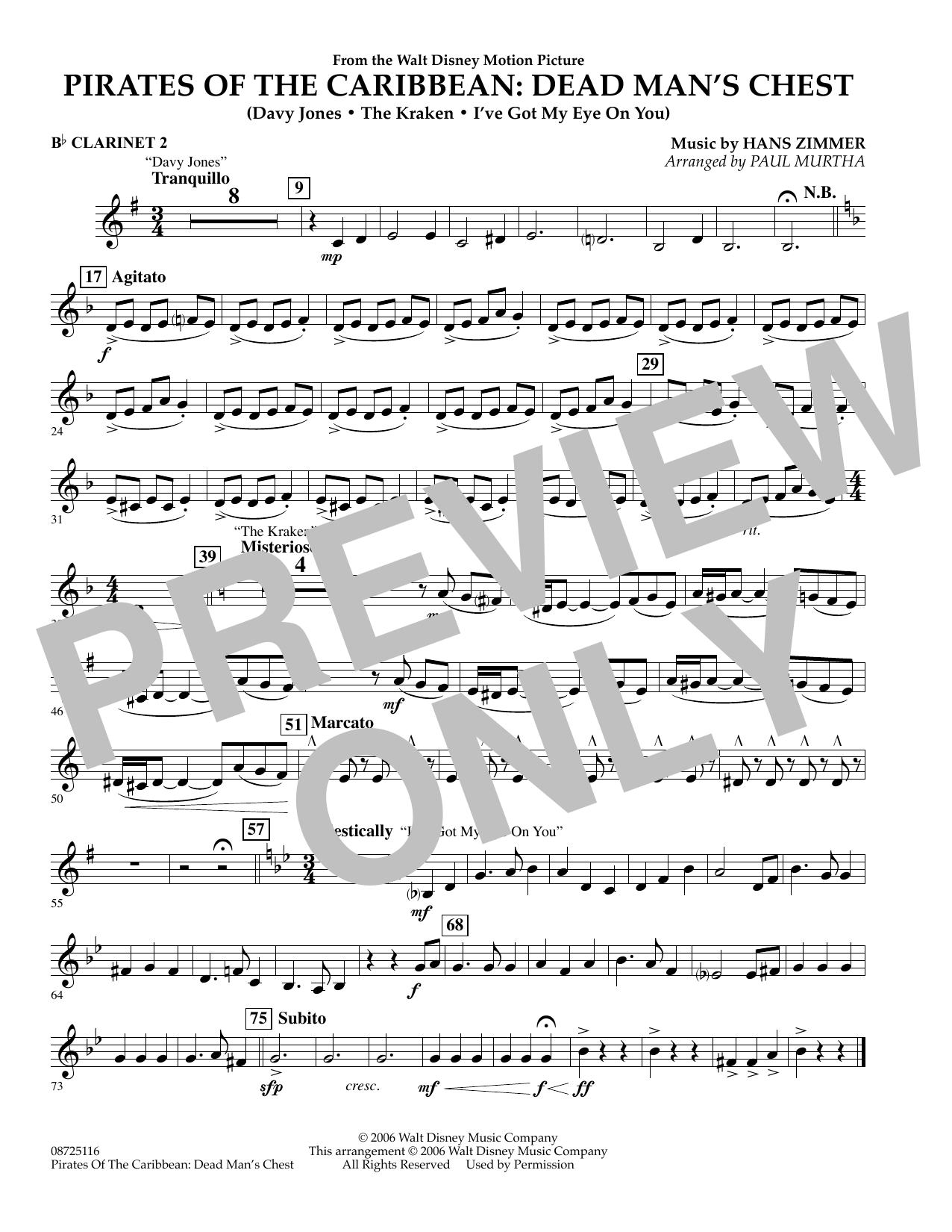 Paul Murtha Pirates of the Caribbean: Dead Man's Chest - Bb Clarinet 2 sheet music preview music notes and score for Concert Band including 1 page(s)