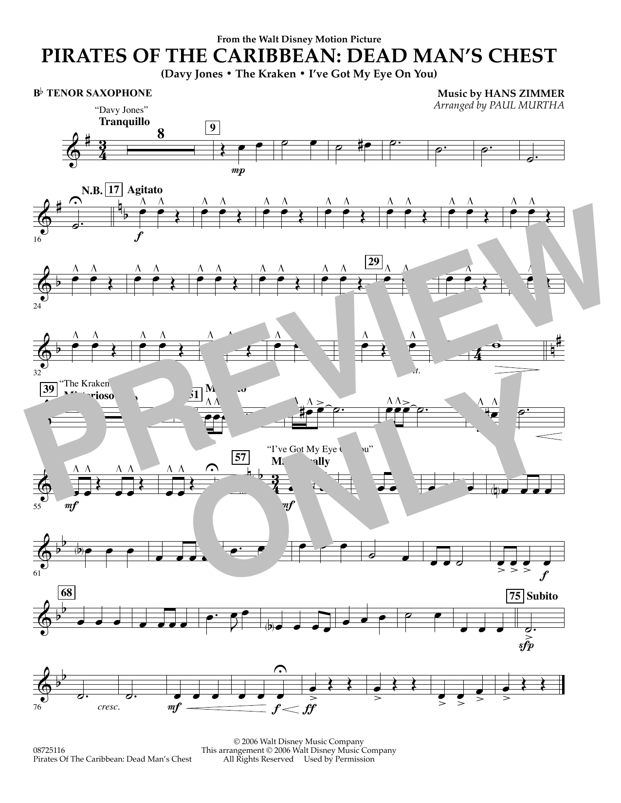 Paul Murtha Pirates of the Caribbean: Dead Man's Chest - Bb Tenor Saxophone sheet music preview music notes and score for Concert Band including 1 page(s)