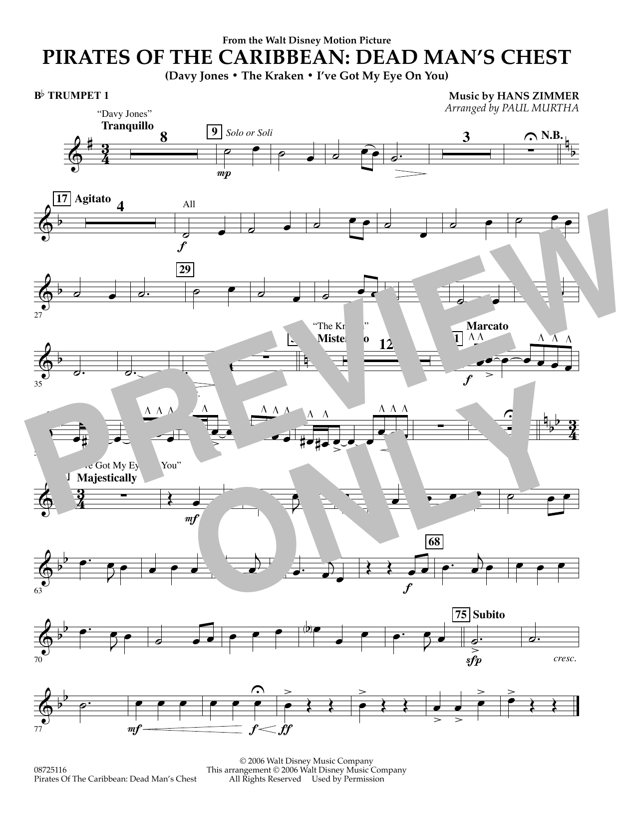 Paul Murtha Pirates of the Caribbean: Dead Man's Chest - Bb Trumpet 1 sheet music preview music notes and score for Concert Band including 1 page(s)