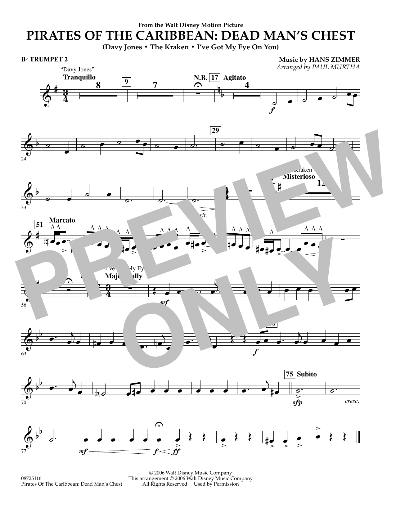 Paul Murtha Pirates of the Caribbean: Dead Man's Chest - Bb Trumpet 2 sheet music preview music notes and score for Concert Band including 1 page(s)