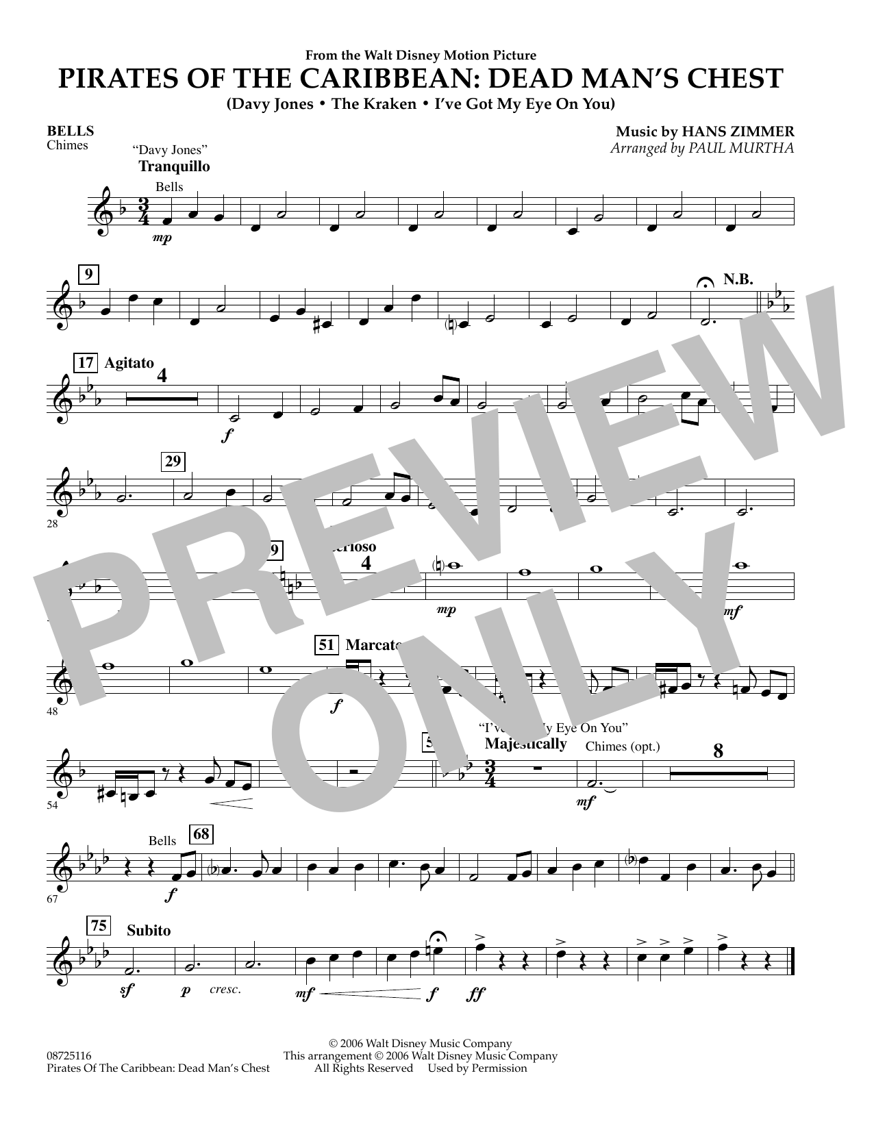 Paul Murtha Pirates of the Caribbean: Dead Man's Chest - Bells sheet music preview music notes and score for Concert Band including 1 page(s)