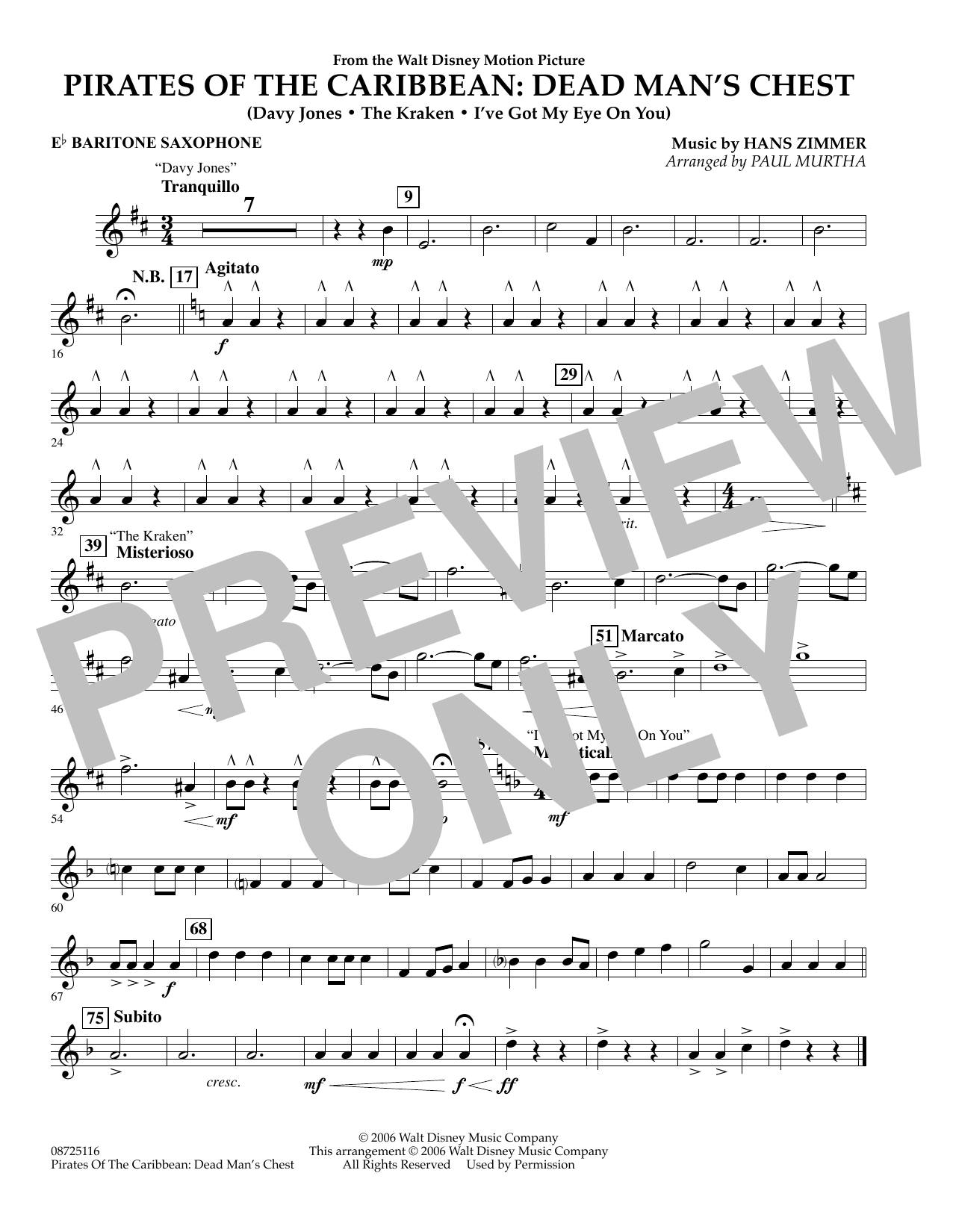 Paul Murtha Pirates of the Caribbean: Dead Man's Chest - Eb Baritone Saxophone sheet music preview music notes and score for Concert Band including 1 page(s)