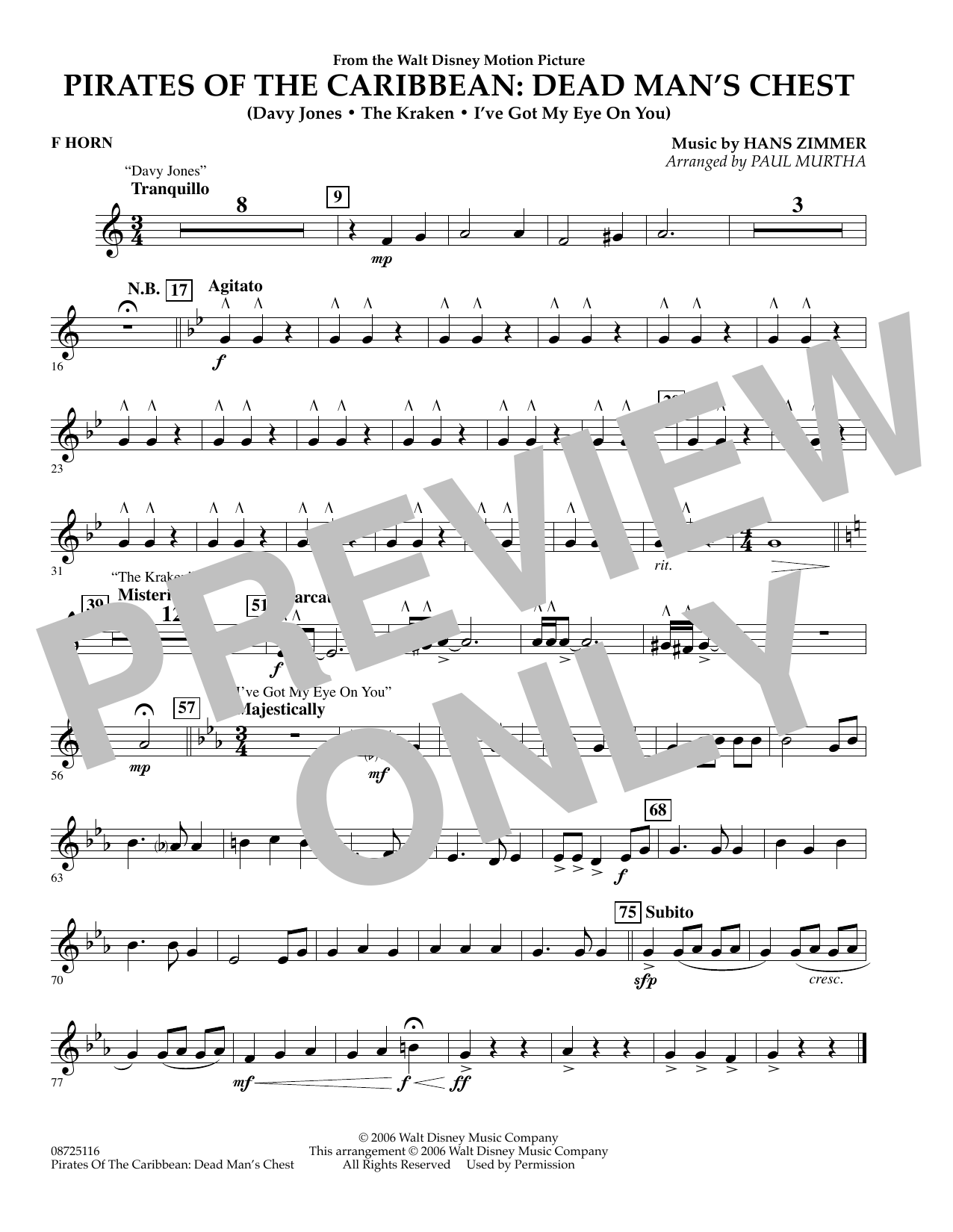 Paul Murtha Pirates of the Caribbean: Dead Man's Chest - F Horn sheet music preview music notes and score for Concert Band including 1 page(s)
