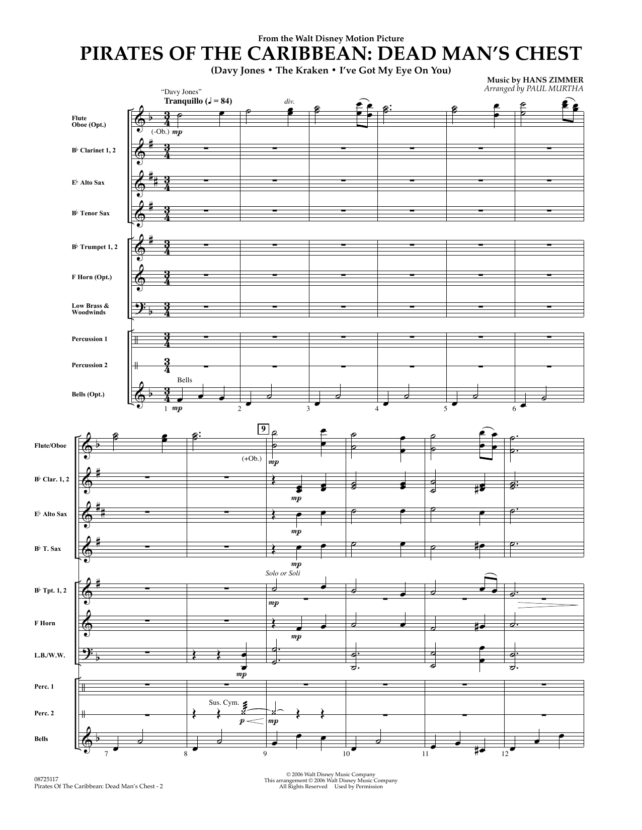 Paul Murtha Pirates of the Caribbean: Dead Man's Chest - Full Score sheet music preview music notes and score for Concert Band including 7 page(s)