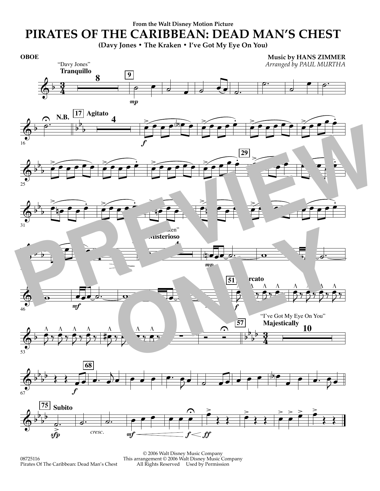Paul Murtha Pirates of the Caribbean: Dead Man's Chest - Oboe sheet music preview music notes and score for Concert Band including 1 page(s)