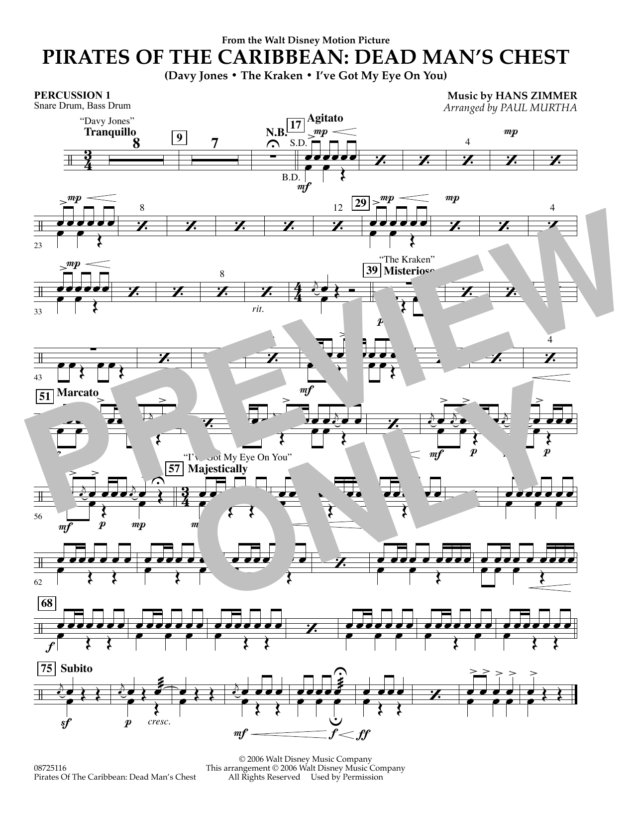Paul Murtha Pirates of the Caribbean: Dead Man's Chest - Percussion 1 sheet music preview music notes and score for Concert Band including 1 page(s)