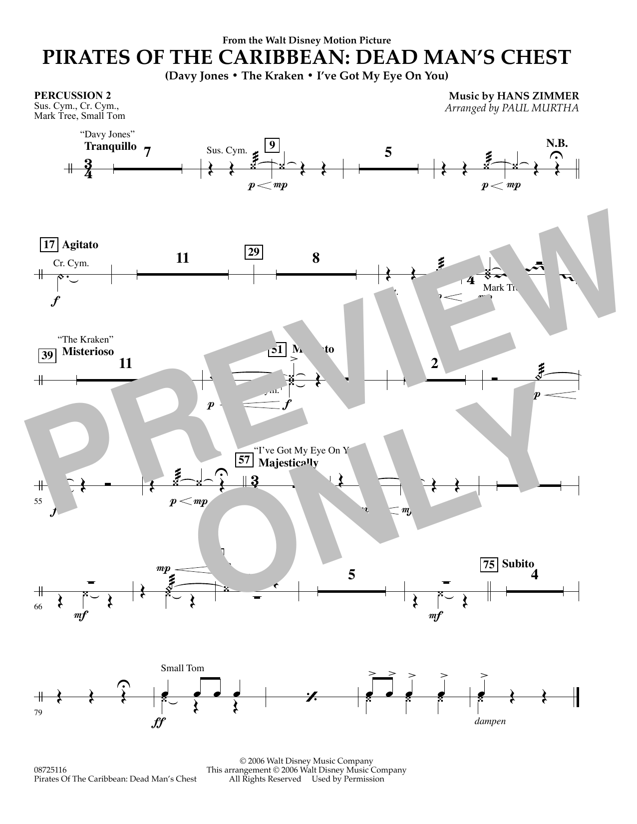 Paul Murtha Pirates of the Caribbean: Dead Man's Chest - Percussion 2 sheet music preview music notes and score for Concert Band including 1 page(s)