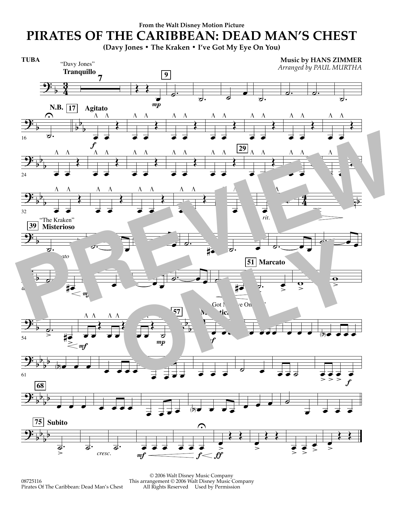 Paul Murtha Pirates of the Caribbean: Dead Man's Chest - Tuba sheet music preview music notes and score for Concert Band including 1 page(s)
