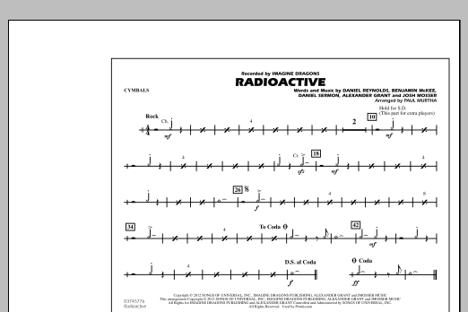 Paul Murtha Radioactive - Cymbals sheet music notes and chords