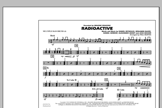 Paul Murtha Radioactive - Multiple Bass Drums sheet music notes and chords